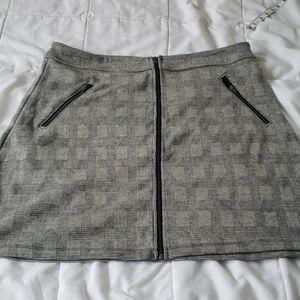 Gap Plaid Zip-Front Mini Skirt black plaid